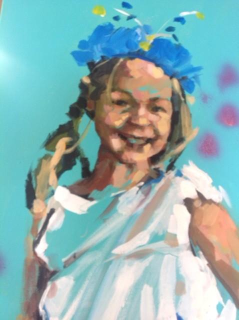 Detail schilderij.